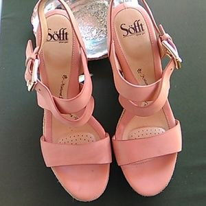 Sofft Light Salmon Leather Wedges